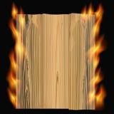 Burning wood. Black background with burning board. vector illustration Stock Photography