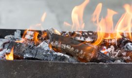 Burning wood in a brazier. In the park in nature Stock Photos