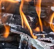 Burning wood in a brazier. Photos in the studio Royalty Free Stock Photography