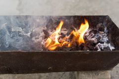 Burning wood in a brazier. In the park in nature Stock Image