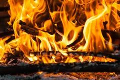 Burning wood. A close up of burning wood Royalty Free Stock Photos