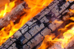 Burning wood, close up Stock Images