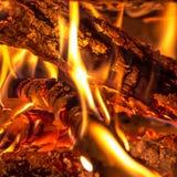 Burning wood. Closeup of burning wood in a fireplace Stock Photos
