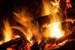 Burning wood- closeup Stock Images