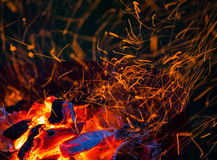 Burning wood and coal Royalty Free Stock Photography