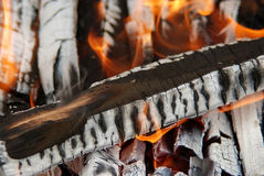 Burning wood - Ember for grilling Royalty Free Stock Images