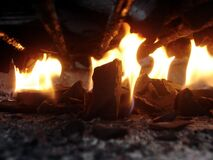 Burning wood fire Stock Photo