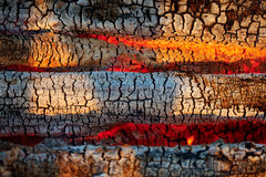Burning wood in the fire. Burning coals. Royalty Free Stock Photo