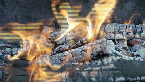 Burning wood in a fire stock footage