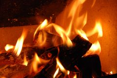 Burning wood fire close up abstract Royalty Free Stock Images