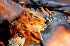 Burning wood fire close up abstract Stock Photos