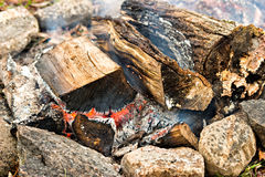 Burning Wood in a Fire Pit Stock Photo