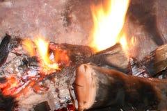 Burning wood fireplace stock photo