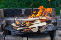 Burning Wood In The Fireplace Royalty Free Stock Photo