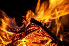 Burning wood in fireplace royalty free stock image