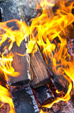 Burning wood in fireplace Royalty Free Stock Photo