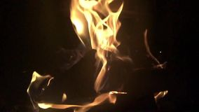 Burning wood in fireplace stock footage