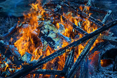 Burning wood, flame and smoke on blue background. Vivid Royalty Free Stock Photos