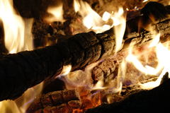 Burning wood Stock Image