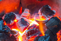 Burning wood in hot stove Royalty Free Stock Image