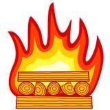 Burning wood icon Stock Photography