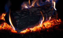 Burning wood log in a stove Stock Images