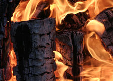 Burning wood logs. Burning logs burned in the fire - background Royalty Free Stock Photo