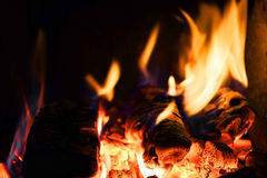 Burning wood in the oven Royalty Free Stock Images