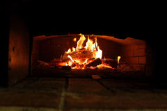 Burning wood in an oven Royalty Free Stock Photo