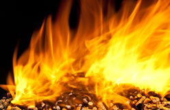 Burning wood pellet Royalty Free Stock Photography