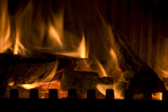 The burning wood Stock Images