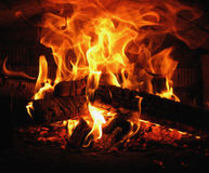 Burning wood in the village oven Royalty Free Stock Photo