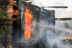 Burning Wooden House Stock Image