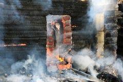 Burning wooden house Stock Photography