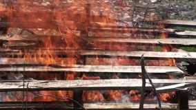 Burning wooden pallets (1) stock footage