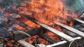 Burning wooden pallets (3) stock video footage