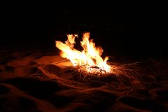 Burning woods in the Desert stock photography