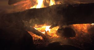 Outdoor fire at night stock video
