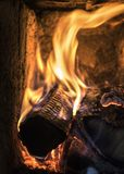 Burning woods in hot stove Royalty Free Stock Image
