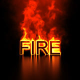 Burning word Fire. 3d render of burning fire word on black background Stock Photos