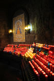 Burning worship candles, Montserrat Basilica Stock Photos