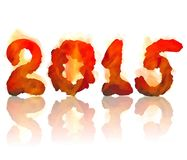Burning 2015 year. Vector illustration of burning 2015 year on a white background Royalty Free Stock Images