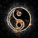 Burning yin-yang sign. For your design Stock Image