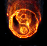 Burning yin-yang sign. For your design Royalty Free Stock Photo
