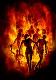 Burning zombies. Illustration a crowd of zombies in fire stock illustration