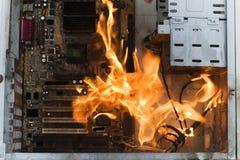burninging的案件计算机 免版税库存图片