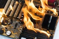 burninging的计算机 图库摄影