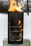burninging компьютер случая Стоковое фото RF