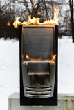 Burninging computer case Stock Photo