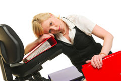 Burnout. Woman has a burnout, office situation, white isolated background Royalty Free Stock Images